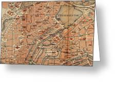 Vintage Map Of Hamburg Germany - 1910 Greeting Card