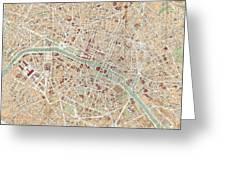 Vintage Map Of Paris  Greeting Card