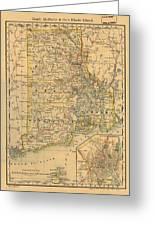 Vintage Map Of Rhode Island  Greeting Card