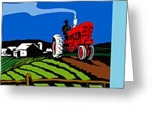 Vintage Tractor Retro Greeting Card by Aloysius Patrimonio