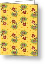 Vintage Wallpaper Seamless Rose Flower Pattern On Circles Polka  Greeting Card