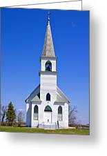 Vintage White Church With Bell  Greeting Card