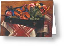 Violin Case And Flowers Greeting Card
