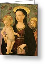 Virgin And Child With An Angel Greeting Card