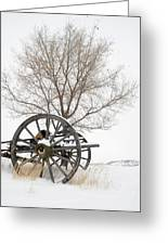Wagon In The Snow Greeting Card