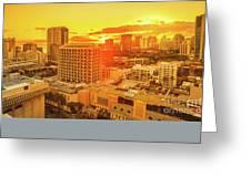 Waikiki City Sunset Greeting Card
