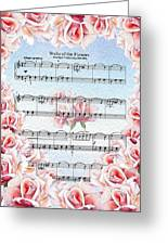 Waltz Of The Flowers Pink Roses Greeting Card