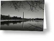Washington Memorial Framed By Cherry Trees In The Winter Greeting Card