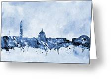 Washington Skyline-blue Greeting Card