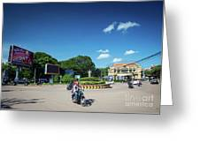 Wat Damnak Roundabout In Central Siem Reap City Cambodia Greeting Card
