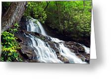 Water Cascading Over Rocky Cliffs Greeting Card