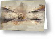 Watercolor Painting Of Beautiful Romantic Image Of Swans On Mist Greeting Card