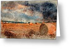 Watercolour Painting Of Beautiful Golden Hour Hay Bales Sunset L Greeting Card