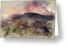 Watercolour Painting Of Stunning Summer Dawn Over Mountain Range Greeting Card