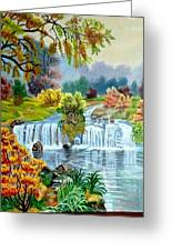 Waterfall After Monsoon Greeting Card