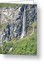 Waterfall In Geiranger Norway Greeting Card