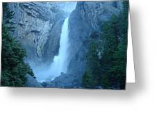 Waterfall In The Mountains Greeting Card