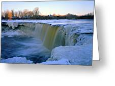 Waterfall With Bluish Icicles Greeting Card