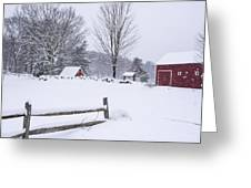 Wayside Inn Grist Mill Covered In Snow Storm Greeting Card