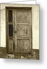 Weathered Gray Door In A Wall Greeting Card