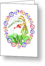 Welcome Spring.rabbit And Flowers Greeting Card