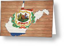 West Virginia Rustic Map On Wood Greeting Card