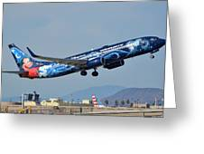Westjet Boeing 737-8ct C-gwsz Magic Plane Phoenix Sky Harbor January 22 2016 Greeting Card