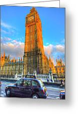 Westminster Bridge And Taxi Greeting Card