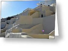White Architecture In The City Of Oia In Santorini, Greece Greeting Card