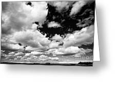 white clouds in blue sky over open farmland in southern Iceland Greeting Card