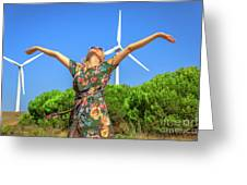 Wind Turbines Woman Greeting Card
