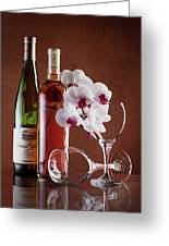 Wine And Orchids Still Life Greeting Card