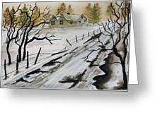 Winter Farmhouse Greeting Card