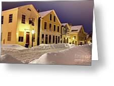 Winter In Historic Downtown New Bedford Greeting Card