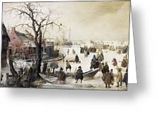 Winter Scene On A Canal Greeting Card