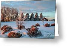 Winter Sunset In Weyburn Greeting Card