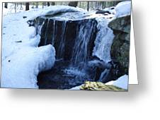 Winter Waterfall Greeting Card