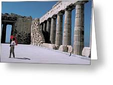 Woman At The Parthenon In Athens Greeting Card