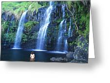 Woman At Waterfall Greeting Card