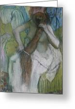 Woman Combing Her Hair Greeting Card