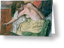 Woman Drying Herself Greeting Card by Edgar Degas