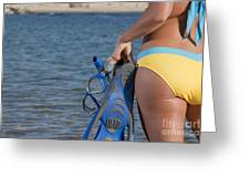 Woman Getting Ready To Go Snorkeling Greeting Card