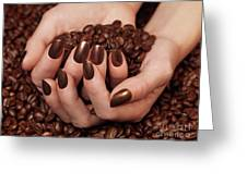 Woman Holding Coffee Beans In Her Hands Greeting Card