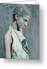 Woman In Ash And Blue Body Paint Greeting Card