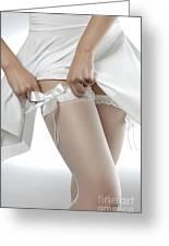 Woman Putting On White Stockings Greeting Card