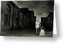 Woman Walking Away With A Child Greeting Card