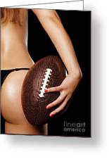 Woman With A Football Greeting Card