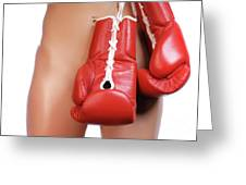 Woman With Boxing Gloves Greeting Card