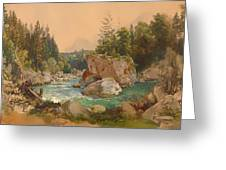 Wooded River Landscape In The Alps Greeting Card