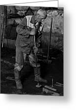 Worker In The Foundry Greeting Card